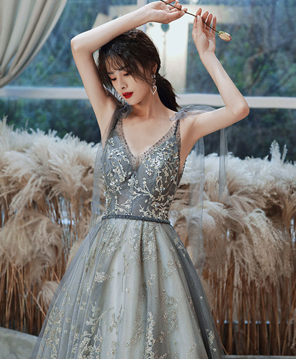 Gray blue tulle sequin long prom dress tulle formal dress