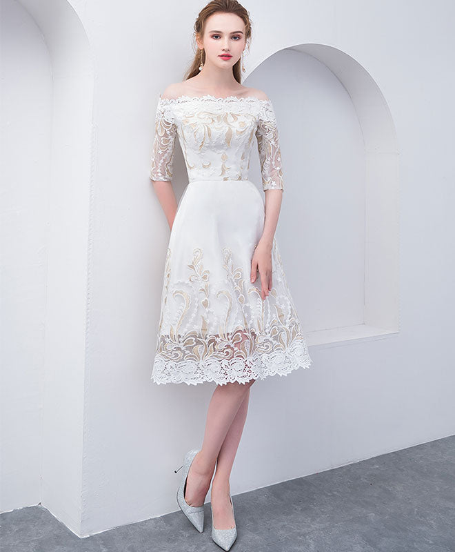 Unique white lace short prom dress, white homecoming dress