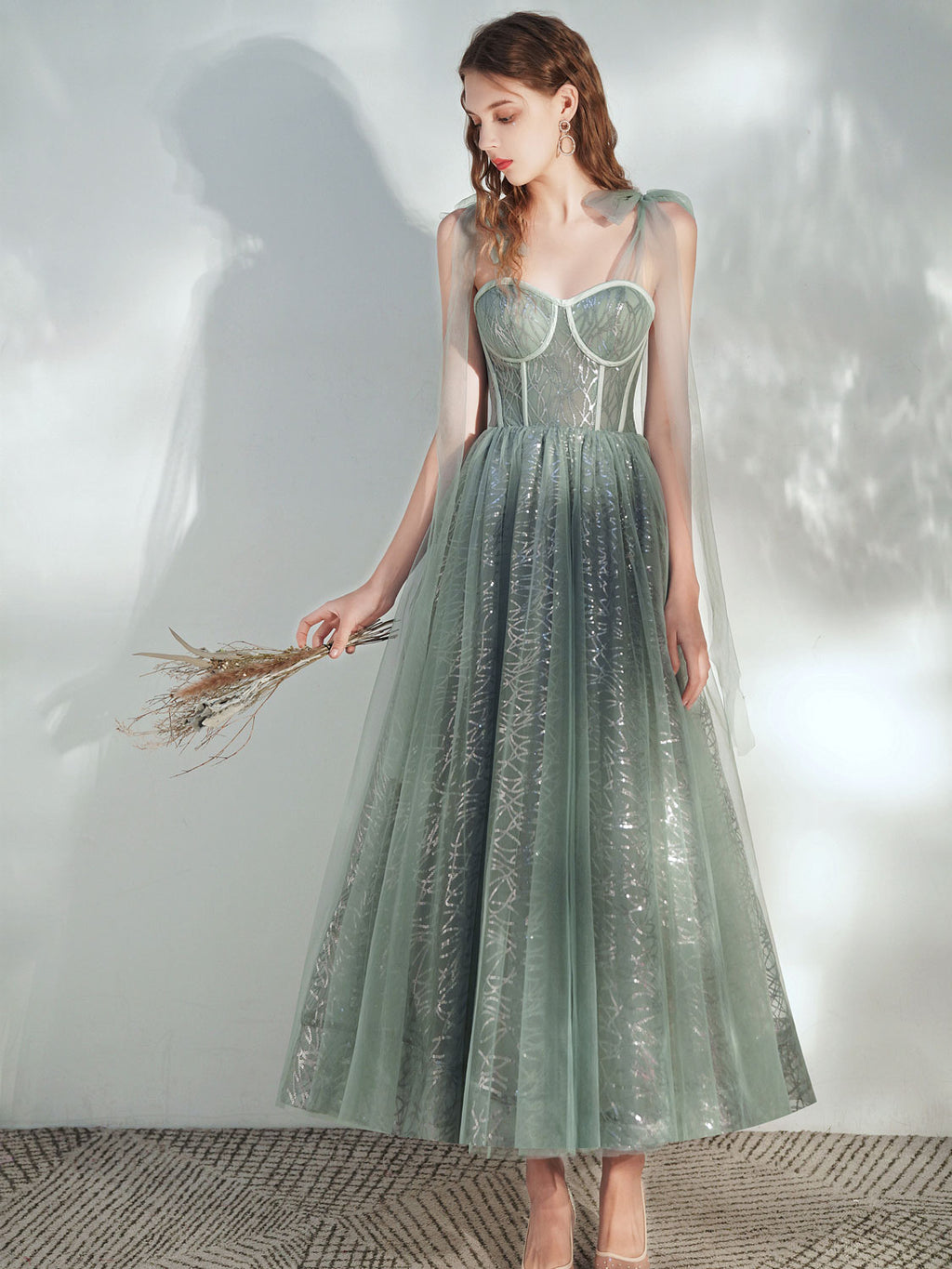 Green A -line tulle lace tea length prom dress green evening dress