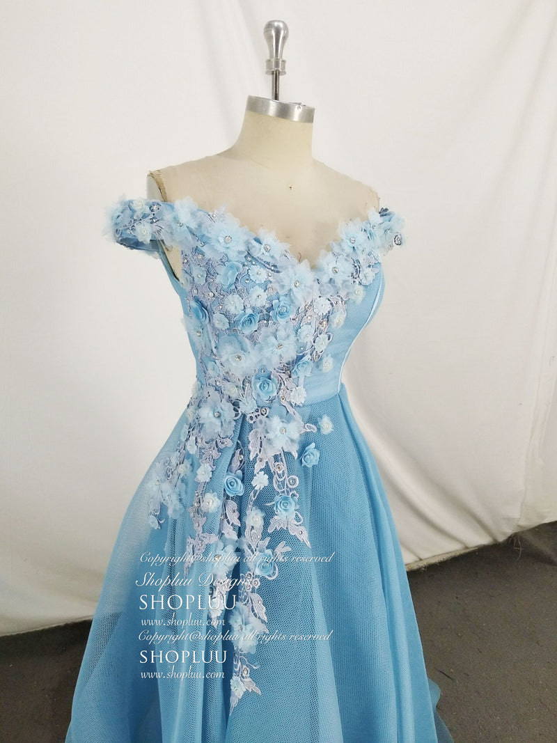 Unique blue off shoulder lace long prom dress, blue evening dress