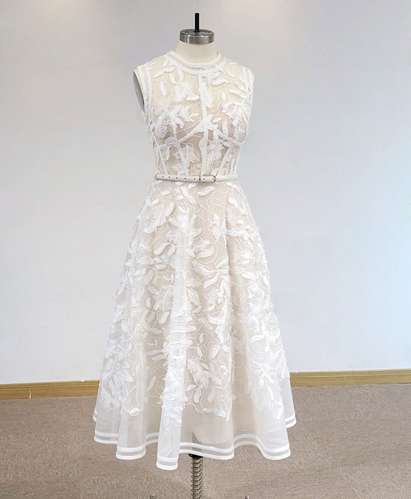 White high neck tulle lace prom dress lace evening dress