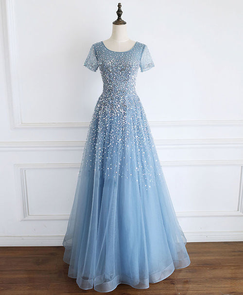 Blue round neck tulle sequin beads long prom dress blue tulle formal dress