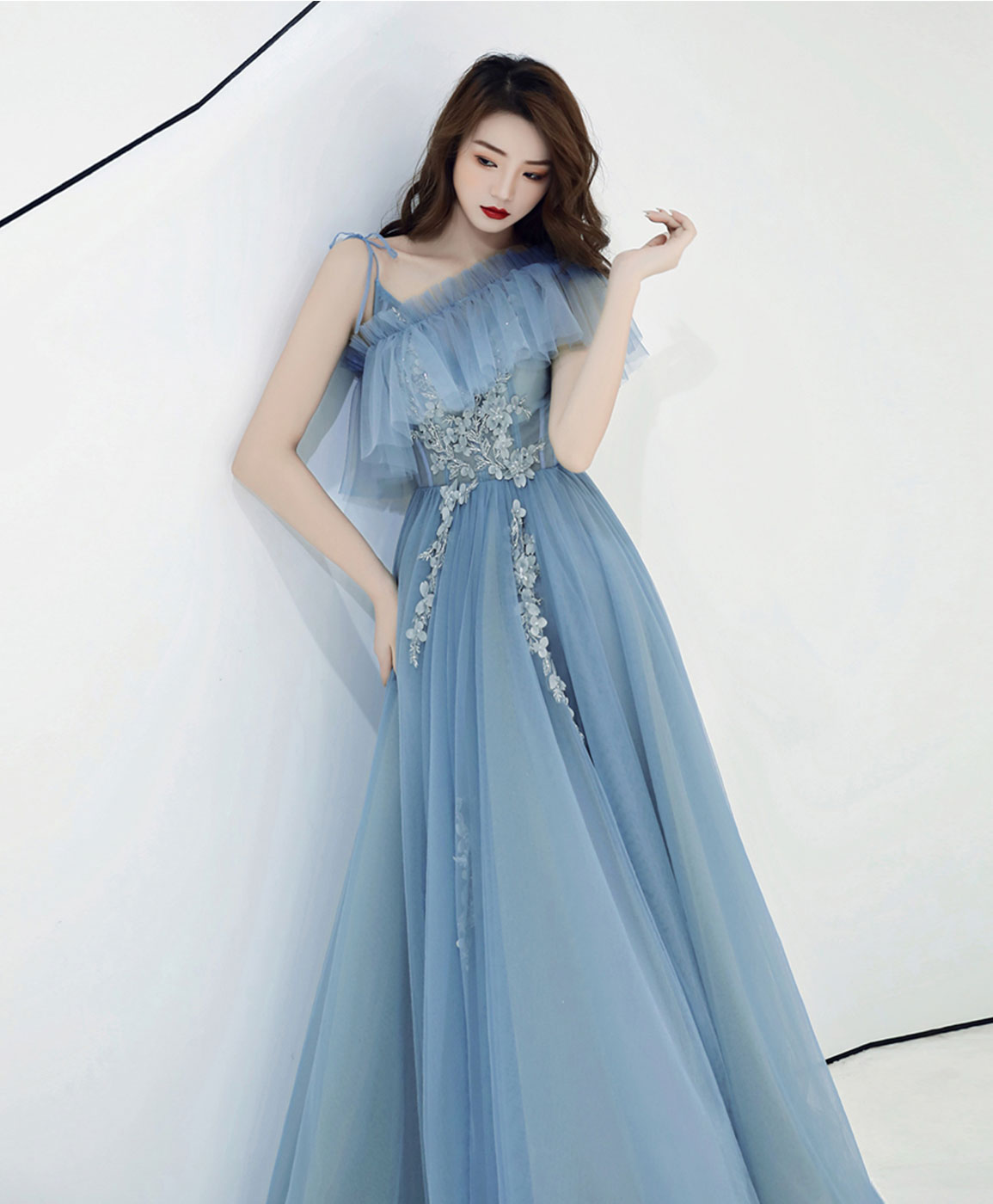 Blue v neck tulle lace long prom dress blue tulle formal dress