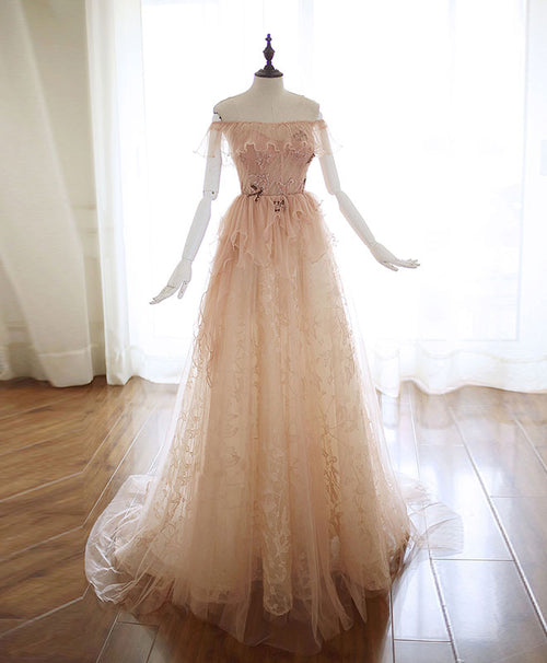 Champagne tulle lace long prom dress champagne tulle lace evening dress