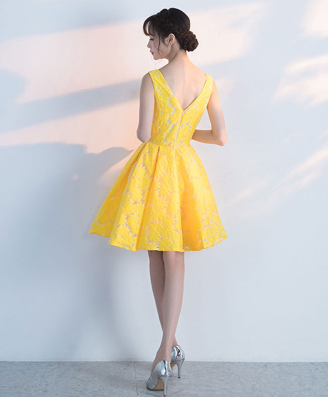 Cute yellow lace short prom dress, yellow homecoming dress