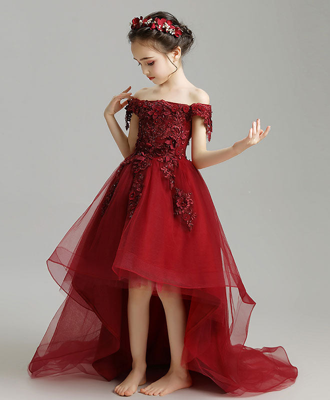 Burgundy high low tulle lace flower girl dress, party girl dress