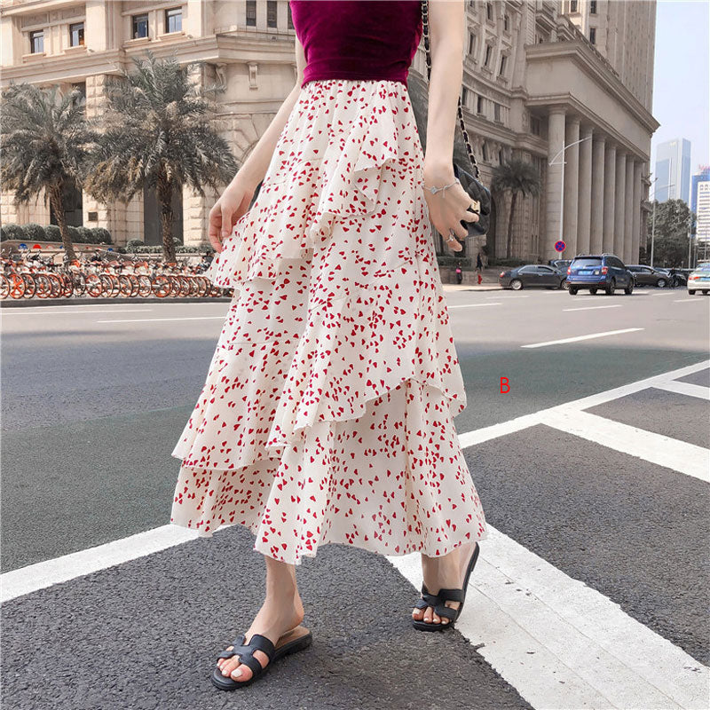 Floral chiffon skirt  women fashion dress