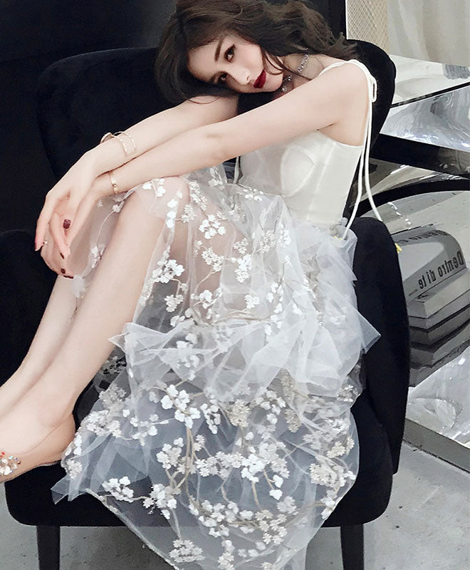 White tulle lace long prom dress, white tulle lace evening dress