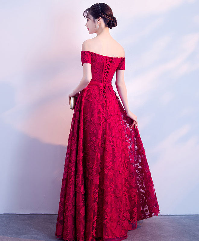 Burgundy lace long prom dress, burgundy lace evening dress
