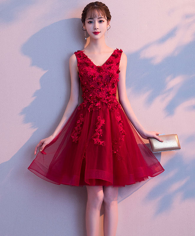 Burgundy v neck tulle lace short prom dress, burgundy homecoming dress
