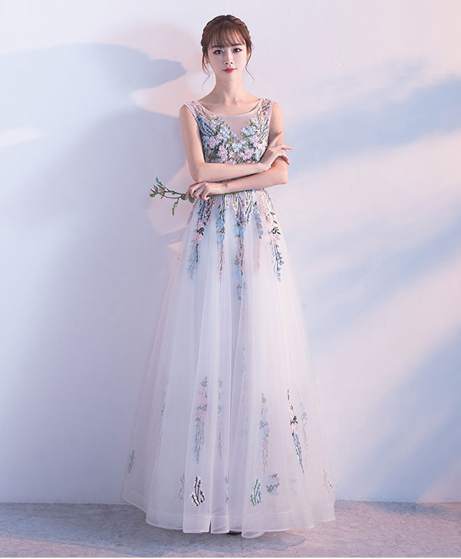 White tulle lace applique long prom dress, white evening dress