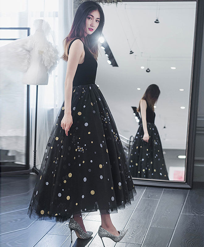 Elegant v neck tulle short prom dress, black tulle homecoming dress