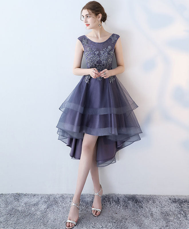 Purple round neck lace tulle high low prom dress, homecoming dress