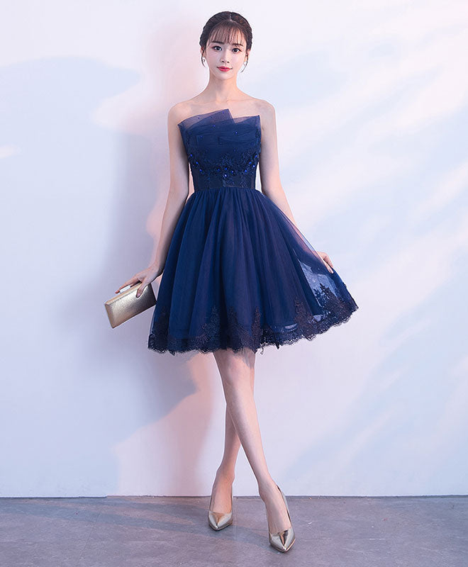 Cute dark blue tulle lace short prom dress, homecoming dress