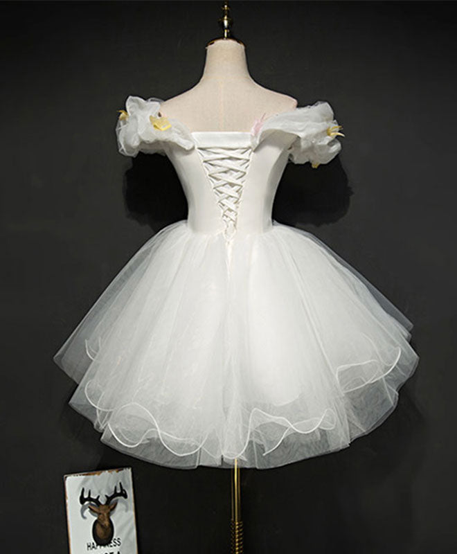 Cute white tulle short prom gown, white homecoming dress