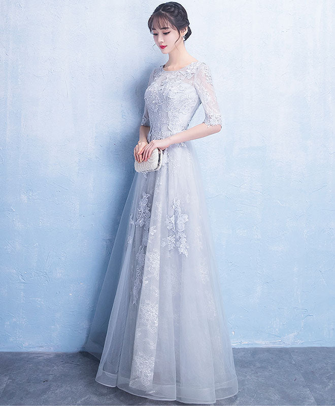 Gray round neck tulle lace long prom dress, gray evening dress