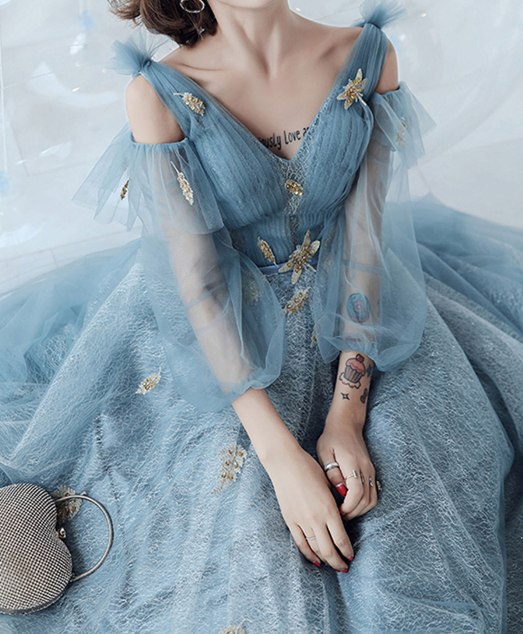 Blue v neck tulle lace long prom dress blue lace formal dress