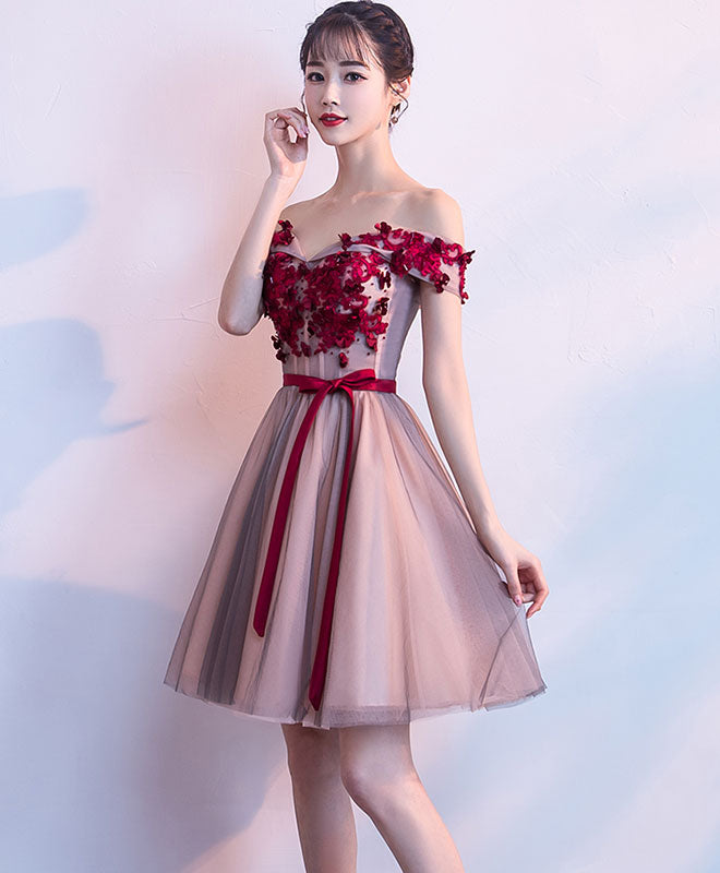 Cute sweetheart neck tulle lace short prom dress, homecoming dress
