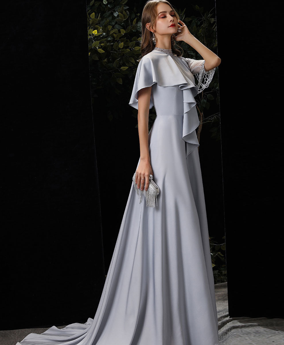 Unique Gray chiffon beads long prom dress gray evening dress
