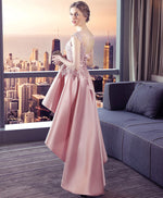 Pink lace satin high low prom dress, homecoming dress
