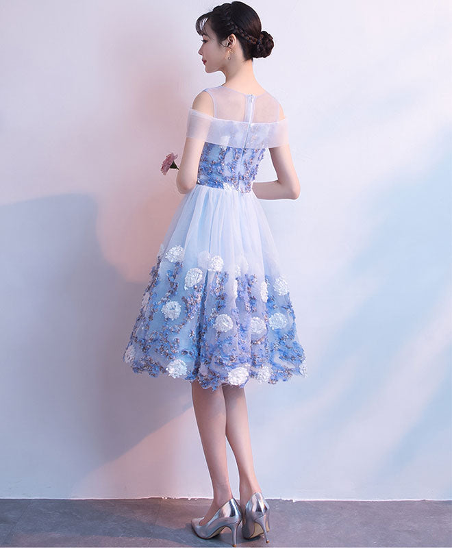 Blue tulle round neck lace short prom dress, blue homecoming dress