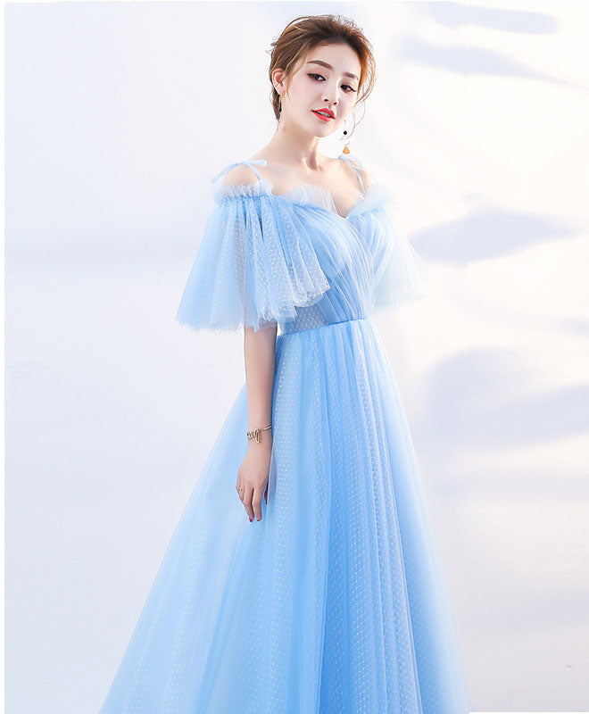 Stylish sky blue tulle long prom dress, evening dress