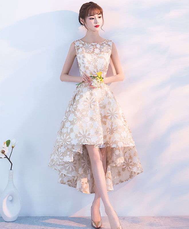 Champagne high low short prom dress, champagne evening dress