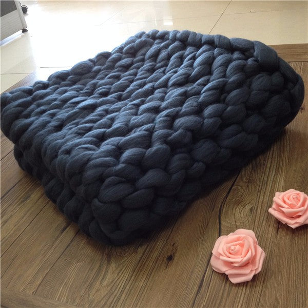 Dark blue chunky knit blanket knitted blanket, chunky blanket, bulky gift