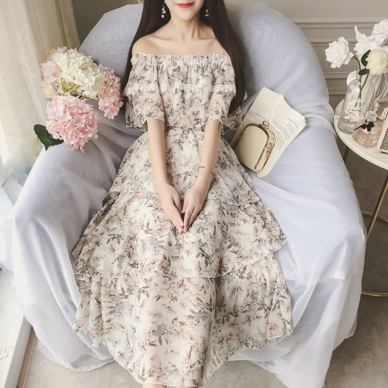 Elegant chiffon summer dress, fashion dress