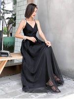Black tulle long summer dress black beach dress