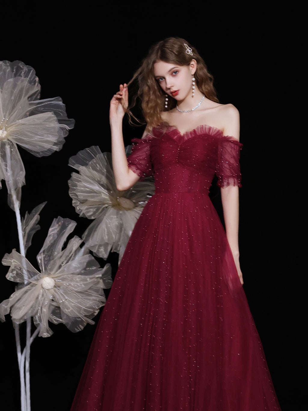 Burgundy sweetheart neck tulle beads long prom dress tulle formal dress