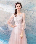 Pink round neck lace tulle short prom dress, evening dress