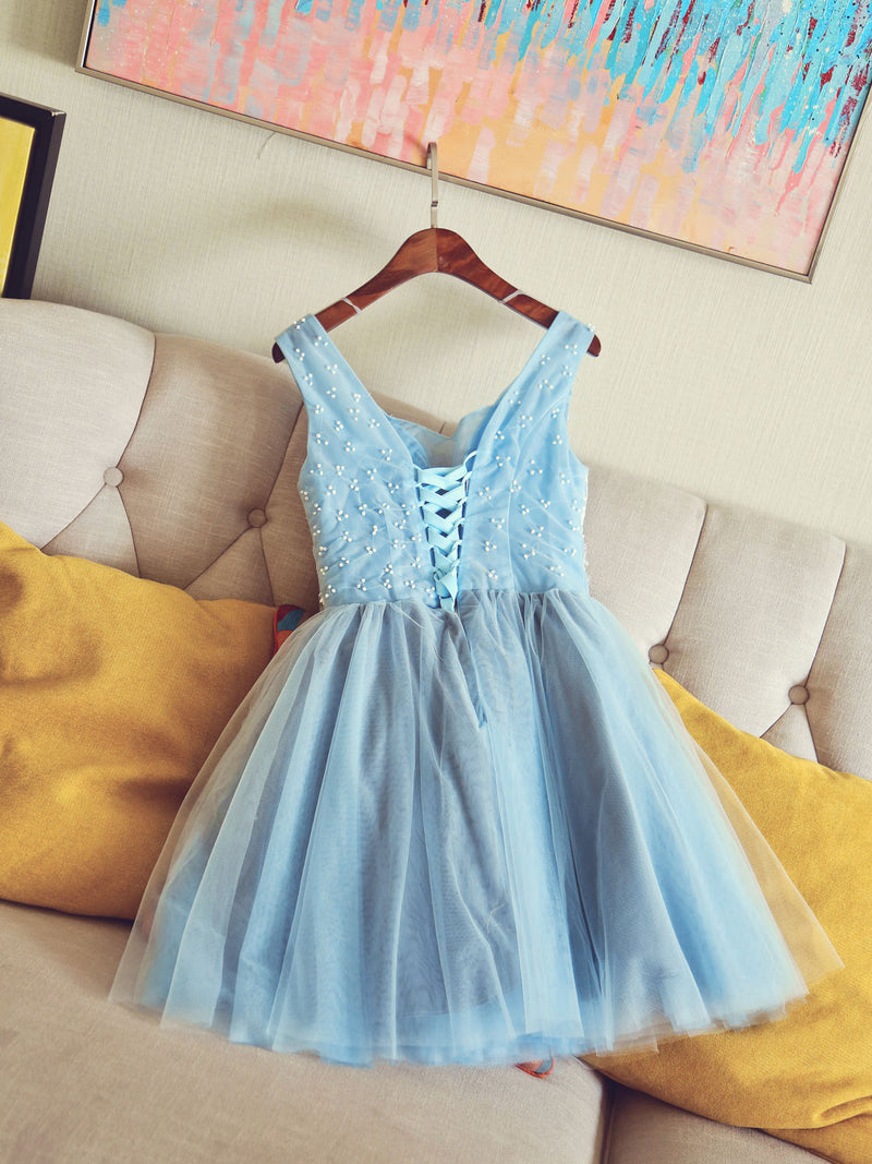 Cute v neck light blue tulle lace short prom dress blue homecoming dress