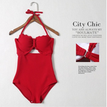 Pure color lovely swimsuit, swimsuit