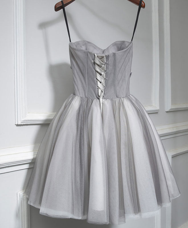 Gray tulle short A line prom dress, homecoming dress