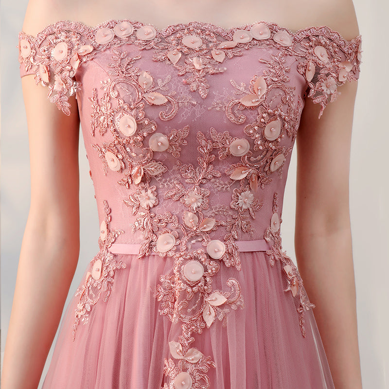 Pink lace tulle long prom dress, pink evening dresses