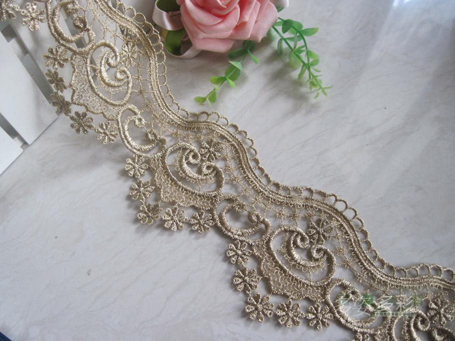 Cute gole lace applique, DIY lace fabric