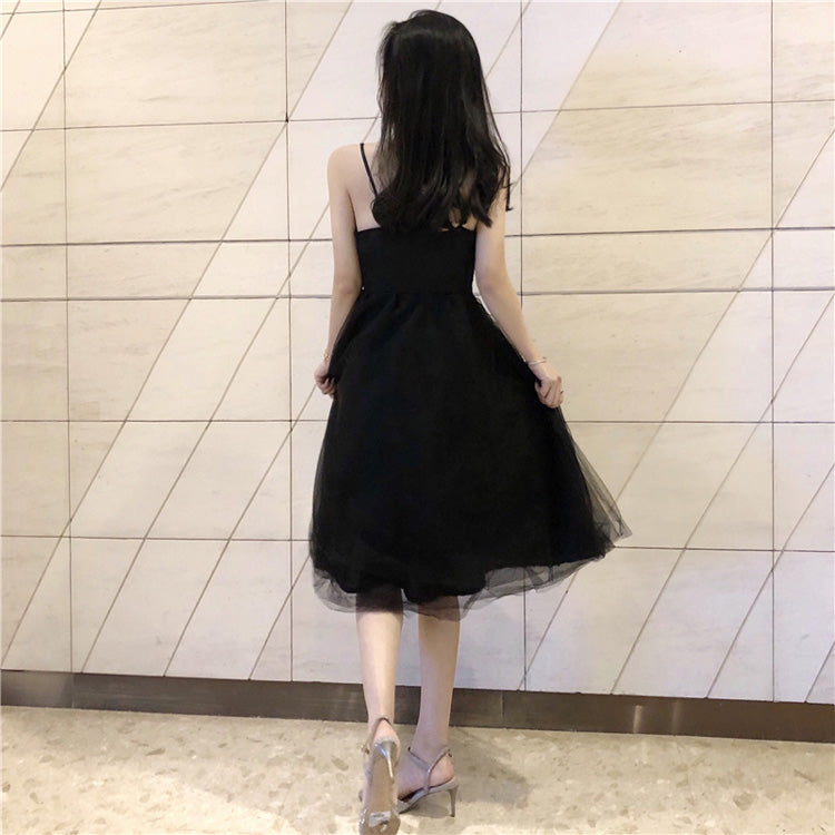 Black v neck tulle short summer dress black prom dress