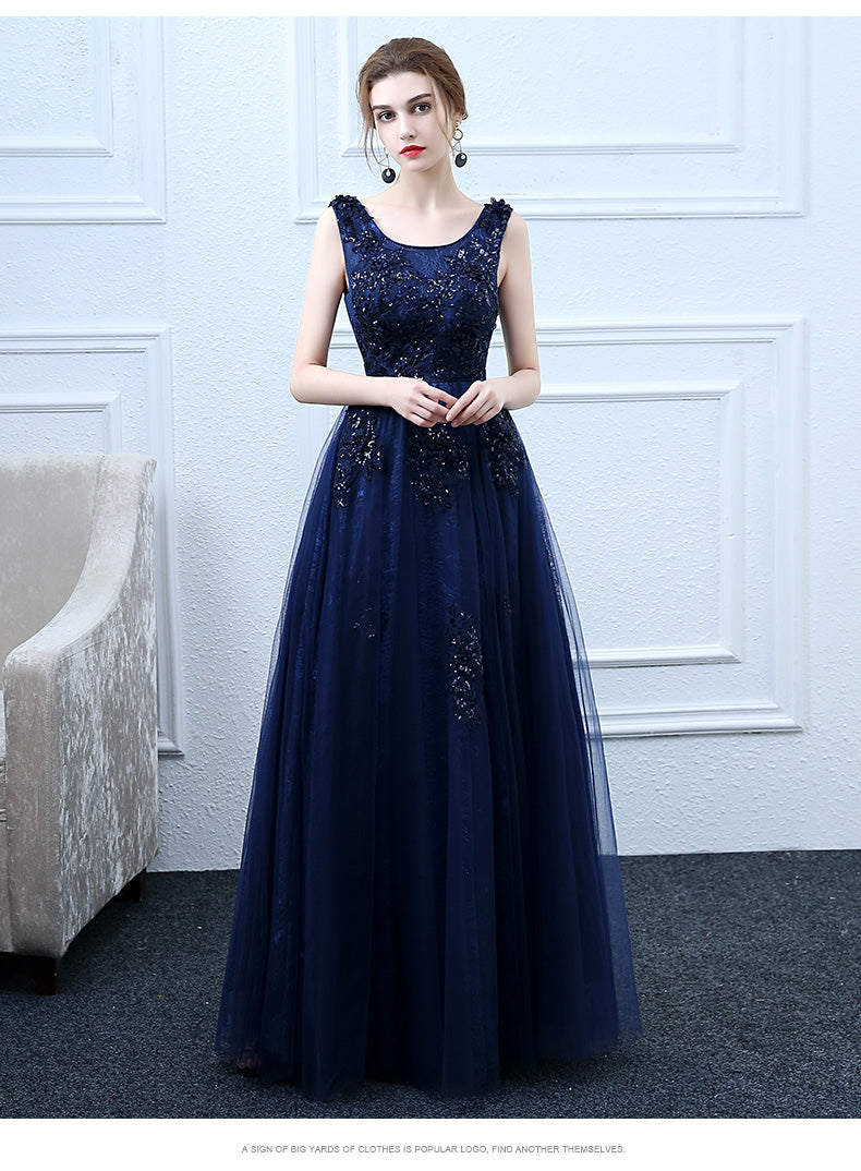 Dark blue tulle long prom dress, blue evening dress