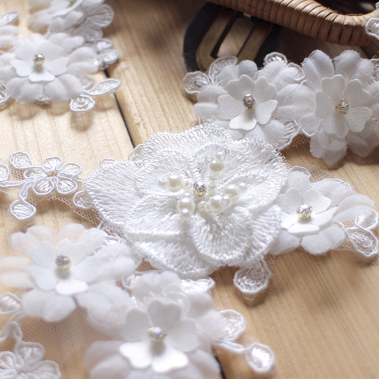 White 3D beaded lace applique, DIY lace applique