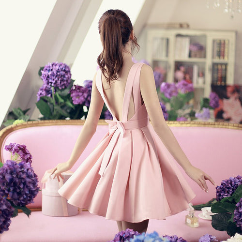 Cute v neck short dress with bow, summer dress, party dress