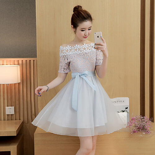 Stylish lignt blue lace tulle short dress, summer dress