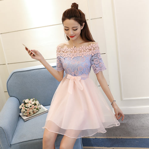 Stylish lace tulle short dress, summer dress