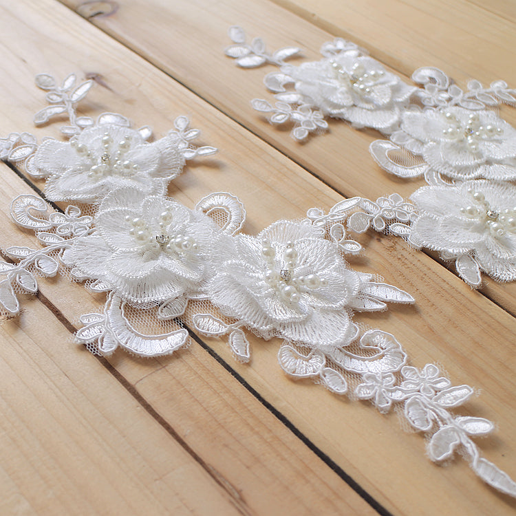White 3D beaded lace applique
