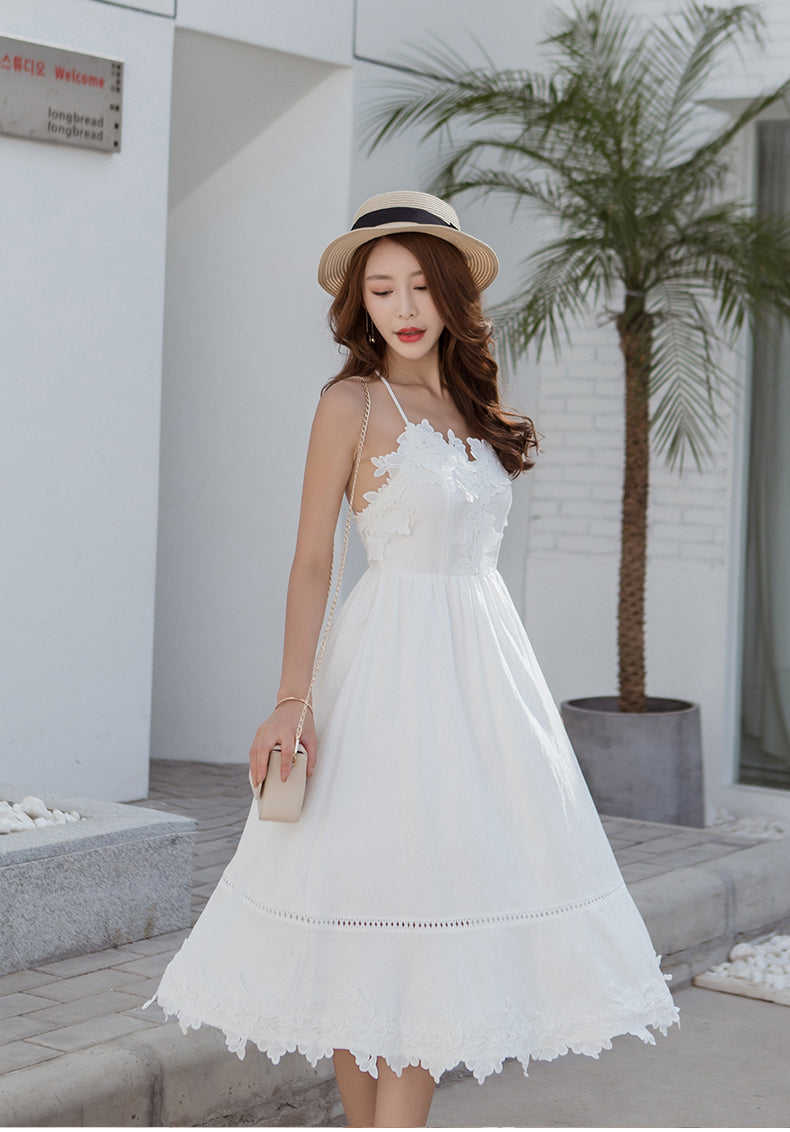 White lace short fashion summer dress, backless dress