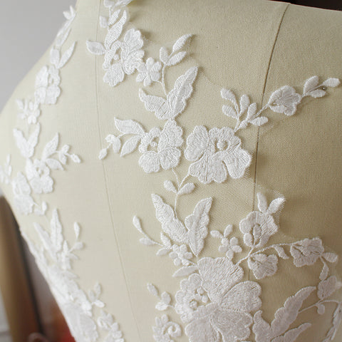 White DIY lace fabric, lace applique