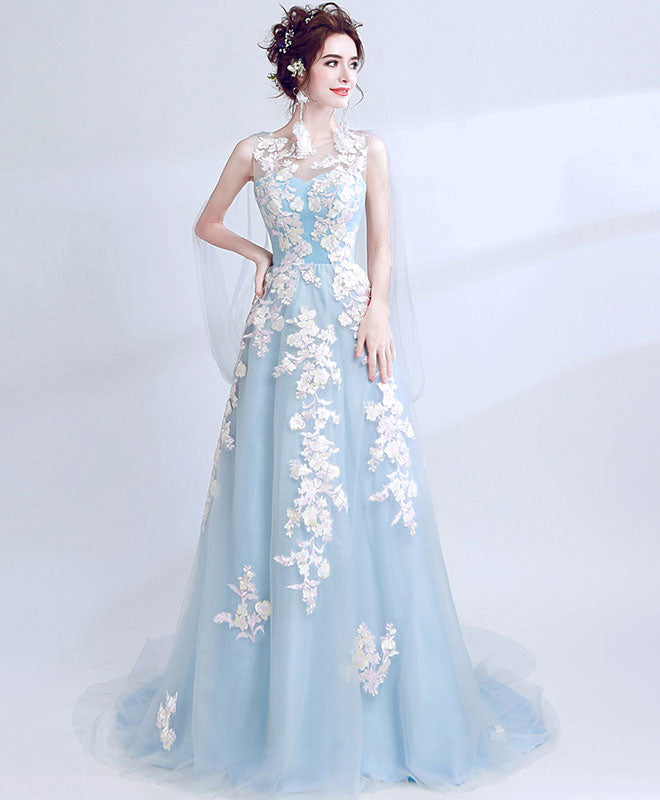 Light blue lace tulle long prom dress, evening dress – shopluu