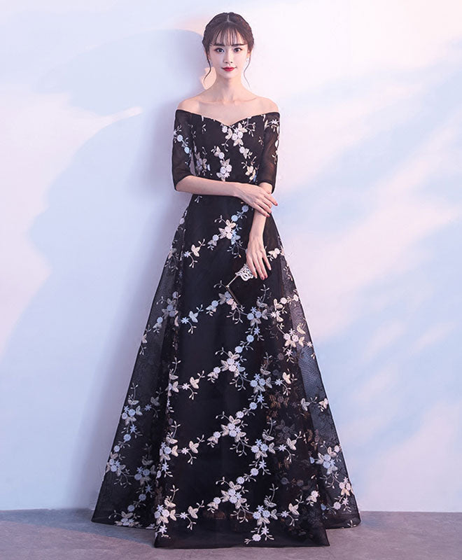 Black v neck off shoulder long prom dress, black evening dress