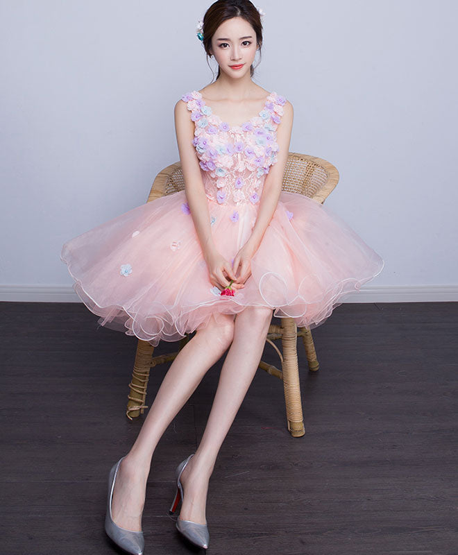 Cute v neck tulle short prom dress, homecoming dress