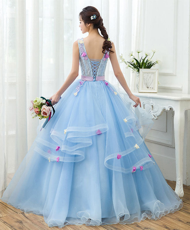Sky blue v neck tulle long prom gown, formal dress